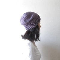 Melange Damson Plum Slouchy Beanie, Purple Hand knit Chunky Slouch Hat, Women Knit Hat, Wool Blend, Seamless, Winter Accessories, For Her