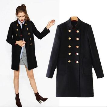 LOMFN Long military uniform style of woolen cloth coat Tagre-