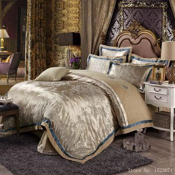 European style mulberry silk bed linen set jacquard satin bedding sets/bedclothes queen king size duvet cover sheet set