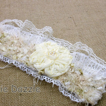 Bridal jewelry, bridal cuff, wrist cuff, ivory lace wristlet, embellished fabric cuff bracelet, fiber art by Dixie Dazzle, made in USA