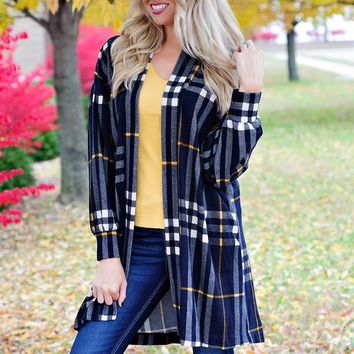 * Going Out Tonight Plaid Cardigan: Navy/Mustard
