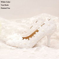 New arrival flowers elegant heels pointed toe women shoes pumps white lace wedding shoes party high heels thin heels white pumps