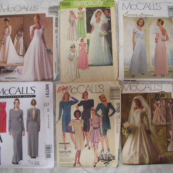 Bridal Evening FREE US SHIPPING McCalls Pattern 8559 / Simplicity 7886 / McCalls 8836 / McCalls 6791 / McCalls 3758 / McCalls 6885