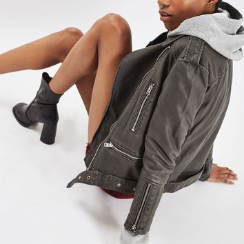 Oversized Faux Leather Biker Jacket | Topshop