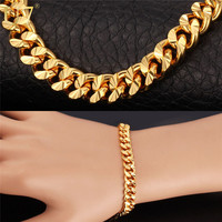 U7 Stamp '18K' Real Gold Plated Bracelet Items Trendy Rose Gold Plated 21CM 7MM Cuban Link Chain Bracelet Men Jewelry H608