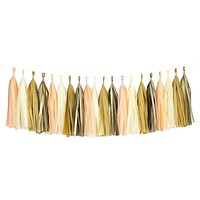 Peach Ivory Beige Gold Tassel Garland Banner Party Decoration Wedding