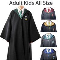 Harry Potter Cosplay Costumes Cloak Cape Gryffindor/Slytherin/Hufflepuff/Ravenclaw Robe&Tie Adult Kids- Best Christmas Gift