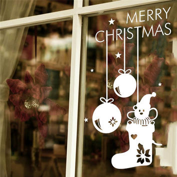 merry christmas socks shop wall stickers glass room decorations 057. diy vinyl gift home decals festival mual art poster 3.5 SM6