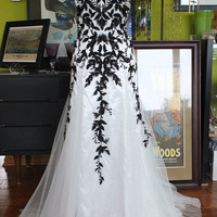 bLACK AND wHITE wEDDING DRESS Alternative wedding dress lace tulle gown sz 14