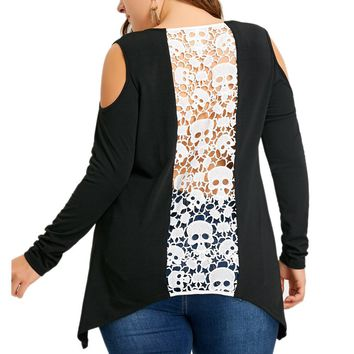 Large Size Women Skull Lace Hollow Out Splice Patchwork Off Shoulder T-shirt