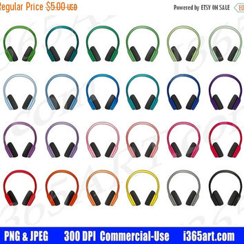 50% OFF SALE Headphones Clipart, Headphones Clip Art, Earphones, Music, Earphones, Headset, Planner Stickers, Graphics, PNG, Commercial