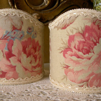 Pair of Wall Sconce Clip-On Shield Shades Rose Floral Fabric Half Lampshade - Handmade in Italy