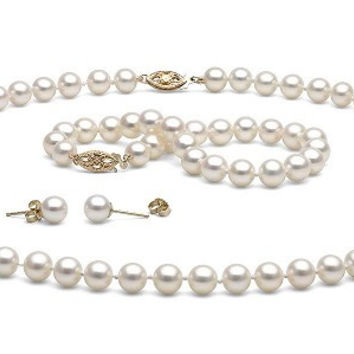 White Natural Freshwater Pearl Jewelry Set, 7-8mm Necklace/Bracelet/Earrings Set