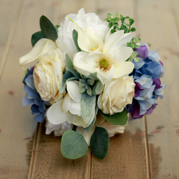 Spring Silk Wedding Bouquet with Blue Hydrangea, Calla Lilies, Magnolias, Ranunculus, and Peony in Cream