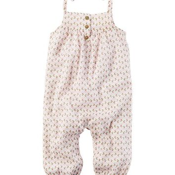 Carter's White Floral Shortalls - Infant