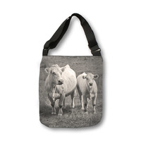 White Cows, Cross Body Tote Bag, Moder Body Bag, Messenger Bag, animal print, grey, black, white, country living, accessory, rustic, Austria