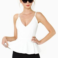 Josette Peplum Top - White