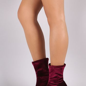 Velvet Fitted Block Heel Booties