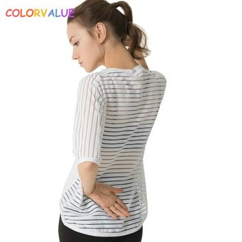 Colorvalue Stretchy Loose Sport T-shirt Women Mesh Striped Running Fitness T-shirt Breathable O-neck Jogger Short-Sleeved Shirt
