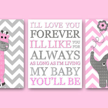 Pink and Gray Nursery Wall Art Baby Nursery Decor Baby Girl Nursery Decor Baby Room Decor Kids Wall Art Kids Art Girl Print set of 3 8x10