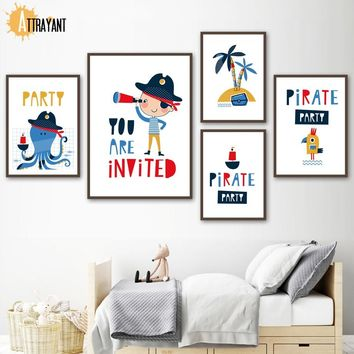 Boy Pirate Ship Tree Chick Octopus Quote Nordic Posters And Prints Wall Art Canvas Painting Animal Wall Pictures Kids Room Decor
