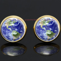 earth globe planet gold plated stud post earrings,girlfriend gift Bridesmaid Gift