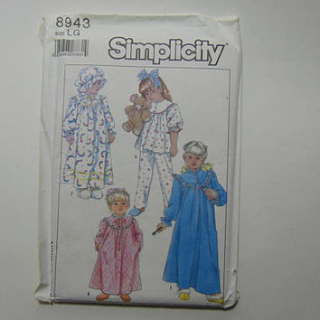 Simplicity 8943 Sewing Pattern Child's Nightgown, Pajama Robe Hat Size LG 5-6 UNCUT