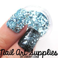 nailartsupplies | Blue Mermaid - Turquoise Blue Raw Nail Glitter Mix 3.5 Grams | Online Store Powered by Storenvy