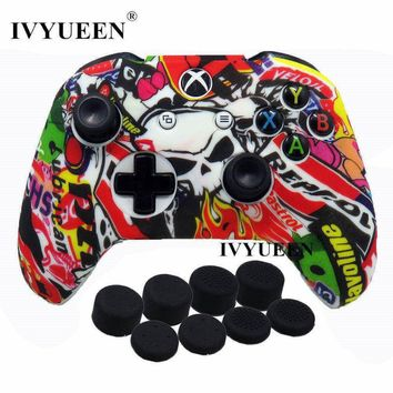 IVYUEEN 9 in 1 Camo Silicone Protective Cover Skin Case for Microsoft Xbox One X S Controller with 8 Thumb Stick Grips Caps