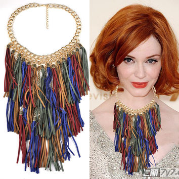 Large Colorful Tassel Statement Necklace