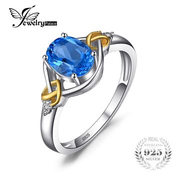 Love Heart Knot 1.5ct  Natural Blue Topaz Real Diamond Accented 925 Sterling Silver 18K Yellow Gold Ring For Women