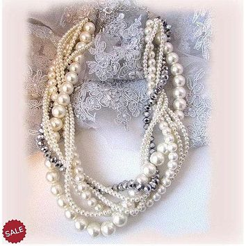 Twisted Braided Pearl Bridal Wedding Jewelry Set