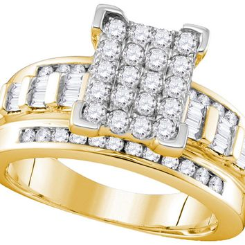 10kt Yellow Gold Womens Round Diamond Cinderella Cluster Bridal Wedding Engagement Ring 1.00 Ctw