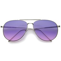 Large Crossbar Oceanic Flat Lens Aviator Sunglasses A213