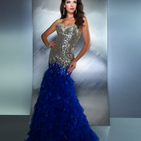 Mac Duggal 2013 Prom Dresses - Royal And Gold Feathered Mermaid Gown - Unique Vintage - Prom dresses, retro dresses, retro swimsuits.