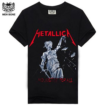 [Men bone] Men T Shirt Black T-Shirt Cotton Metallica Print Heavy Metal Rock Hip Hop Punk Clothing Summer Tee
