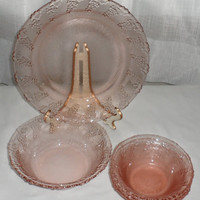 Vintage 1940s KIG Indonesian Pink Glass with Pressed Grapes around the Rims/3 Compote/fruit Nappies/1 Dessert Bowl and 1 Ten Inch Plate