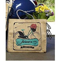 Mona B Flowers Upcycled Burlap Tote B-221 with Coin Purse