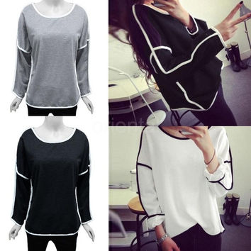 New Fashion Women Tops Batwing Long Sleeve Casual Contrast Line Crew Neck Loose T-Shirt G0935|26201 One Size (Color: Black) = 1945767300