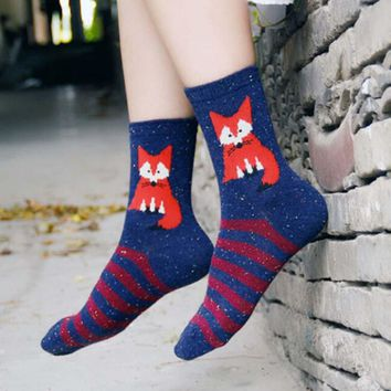 Animal Fox Wolf Stripes Winter Socks Funny Crazy Cool Novelty Cute Fun Funky Colorful