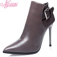 Nysiani 2016 Newest  Fashion Female Winter Ankle High Boots With Sexy High Thin Heels And Stylish Pointed Toe High Heels Boots