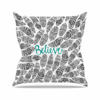 "Pom Graphic Design ""Believe"" Gray Teal Outdoor Throw Pillow"