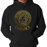 Men Versace Hoodie Sweatshirt screen printing on Quality American Brand apparel S-3XL