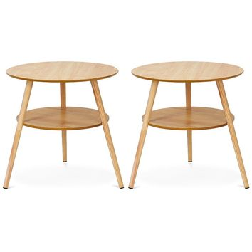 Goplus Set of 2 Round End Coffee /Side Accent Table
