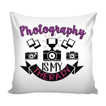 Photographer Camera Graphic Pillow Cover Photography Is My Therapy