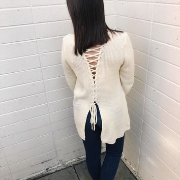 Great Heights Lace Up Sweater