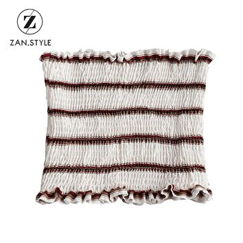 ZAN.STYLE Fashion Women Stripes Smocked Tube Top Summer Ruffles Ruched Cropped Tops Bandeau Beach Wear Girl Strapless Top Bra