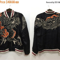 JUNE SALE 25% OFF Vintage 80s 90s Sukajan Reversible Script Full Big Dragon with Ancient Animal Embroidery Souvenir Varsity Satin Jacket #J1
