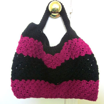 The Sassy Bag in Magenta and Black by SalemStyle on Etsy