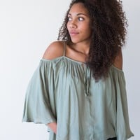 Sage Off the Shoulder Top - Luca + Grae